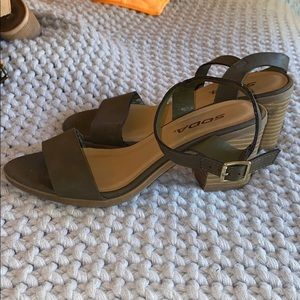 Army Green Mini Heeled Sandals